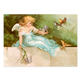 Clapsaddle: Ángel que juega con los pájaros Tarjetas De Visita Grandes