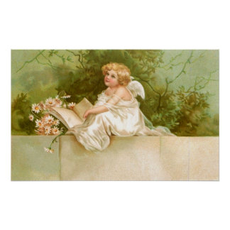 Clapsaddle: Angel with Book and Flowers Poster
