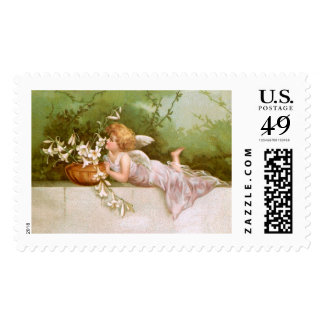 Clapsaddle: Angel with Lilies Postage