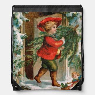 Clapsaddle: Boy with Fir Tree Drawstring Bag