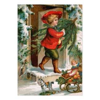 Clapsaddle: Boy with Fir Tree Large Business Card
