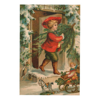 Clapsaddle: Boy with Fir Tree Wood Wall Art