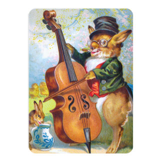 Clapsaddle: Bunny with Cello 4.5x6.25 Paper Invitation Card