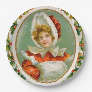 Clapsaddle: Charming Winter Girl Paper Plate