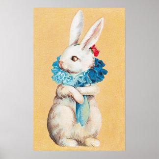 Clapsaddle Chica de conejito de pascua con el ace Poster
