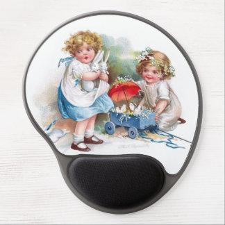 Clapsaddle: Chicas que juegan con los conejitos Alfombrillas Con Gel