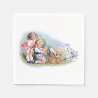 Clapsaddle: Children Playing with Bunny Paper Napkin