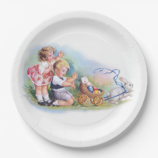 Clapsaddle: Children Playing with Bunny Paper Plate