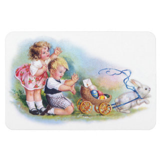 Clapsaddle: Children Playing with Bunny Rectangular Photo Magnet