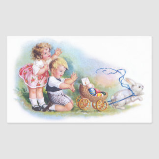 Clapsaddle: Children Playing with Bunny Rectangular Sticker