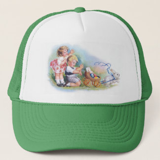 Clapsaddle: Children Playing with Bunny Trucker Hat