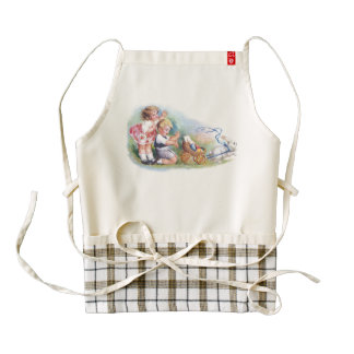 Clapsaddle: Children Playing with Bunny Zazzle HEART Apron