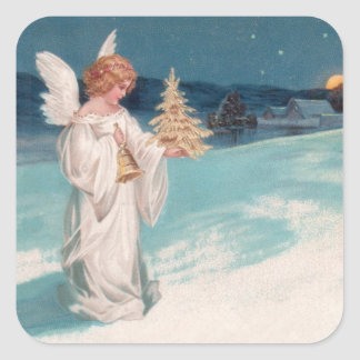 Clapsaddle: Christmas Angel with Bell Square Sticker