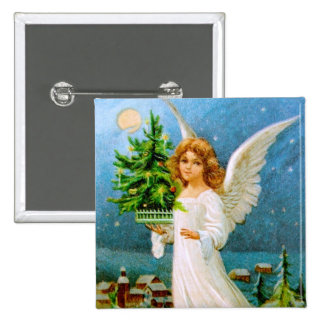 Clapsaddle: Christmas Angel with Fir Tree Button