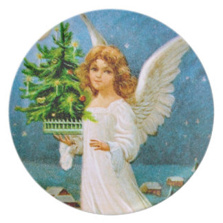 Clapsaddle: Christmas Angel with Fir Tree Dinner Plate