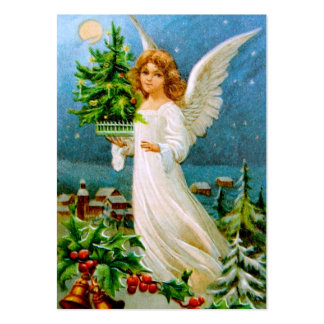 Clapsaddle: Christmas Angel with Fir Tree Large Business Card