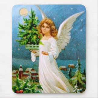 Clapsaddle: Christmas Angel with Fir Tree Mouse Pad
