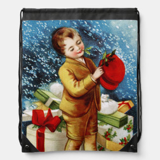 Clapsaddle: Christmas Shopping Drawstring Bag