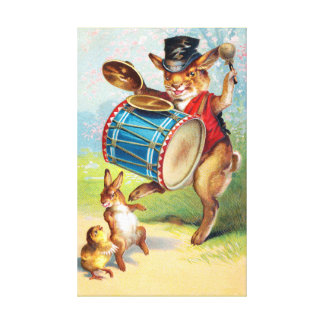 Clapsaddle: Drumming Rabbit Stretched Canvas Prints