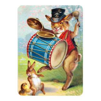 Clapsaddle: Drumming Rabbit Personalized Invitation
