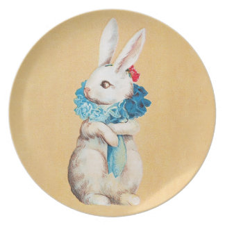 Clapsaddle: Easter Bunny Girl with Ruff Melamine Plate