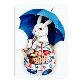 Clapsaddle: Easter Bunny Girl with Umbrella Custom Invites