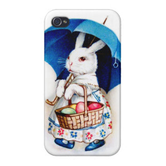 Clapsaddle: Easter Bunny Girl with Umbrella iPhone 4 Covers