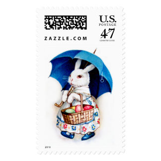 Clapsaddle: Easter Bunny Girl with Umbrella Postage