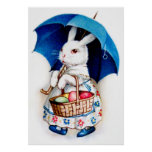 Clapsaddle: Easter Bunny Girl with Umbrella Poster