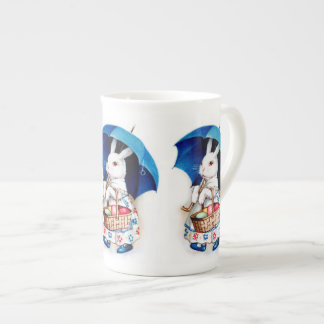 Clapsaddle: Easter Bunny Girl with Umbrella Tea Cup