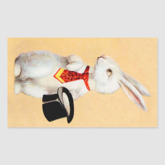 Clapsaddle: Easter Bunny with Tie Rectangular Sticker