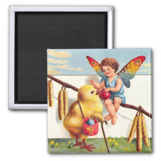 Clapsaddle: Easter Fairy with Chicken 2 Inch Square Magnet