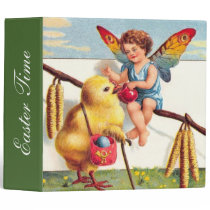 Clapsaddle: Easter Fairy with Chicken 3 Ring Binder
