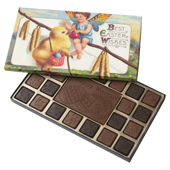 Clapsaddle: Easter Fairy with Chicken 45 Piece Box Of Chocolates