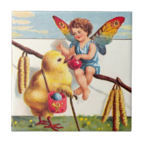 Clapsaddle: Easter Fairy with Chicken Ceramic Tile