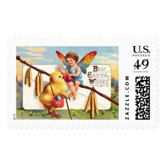 Clapsaddle: Easter Fairy with Chicken Postage