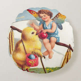 Clapsaddle: Easter Fairy with Chicken Round Pillow