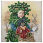 Clapsaddle: Fir Boy with Doll Printed Napkins