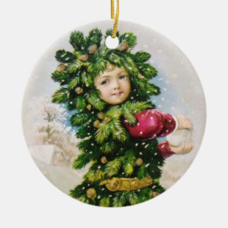Clapsaddle: Fir Boy with Snowball Ceramic Ornament