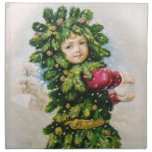 Clapsaddle: Fir Boy with Snowball Printed Napkins