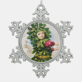 Clapsaddle: Fir Boy with Snowball Snowflake Pewter Christmas Ornament