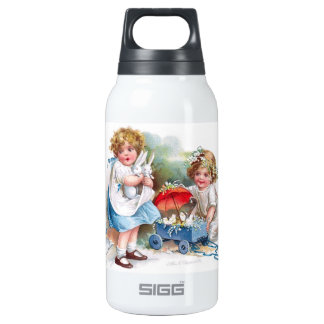 Clapsaddle: Girls Playing with Bunnies 10 Oz Insulated SIGG Thermos Water Bottle