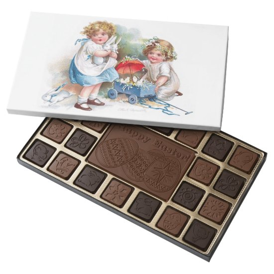 Clapsaddle: Girls Playing with Bunnies Assorted Chocolates