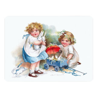 Clapsaddle: Girls Playing with Bunnies Card