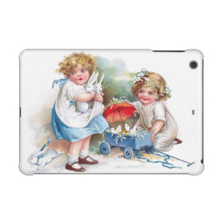 Clapsaddle: Girls Playing with Bunnies iPad Mini Retina Cases