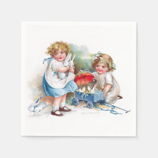 Clapsaddle: Girls Playing with Bunnies Paper Napkin