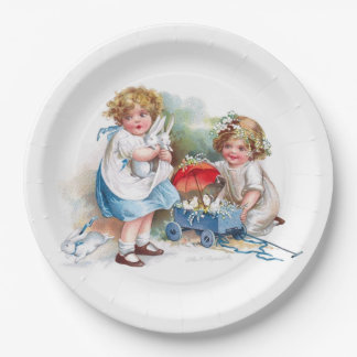 Clapsaddle: Girls Playing with Bunnies Paper Plate