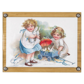 Clapsaddle: Girls Playing with Bunnies Rectangular Cheese Board
