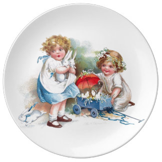 Clapsaddle: Girls Playing with Bunnies Plate