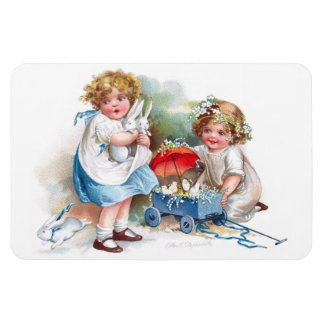 Clapsaddle: Girls Playing with Bunnies Rectangular Photo Magnet